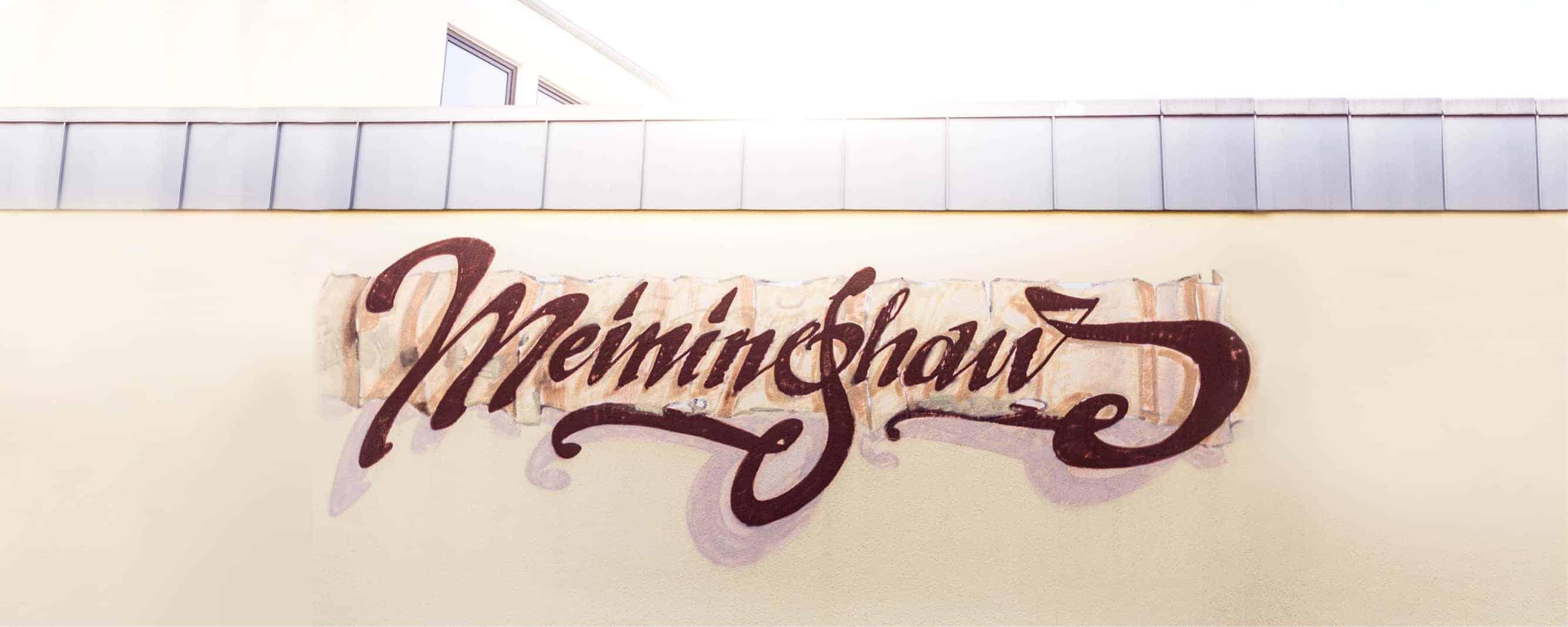 Aufgemalter Meininghaus-Schriftzug in Forchheim